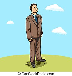 Businessman outdoors pop art style  vector