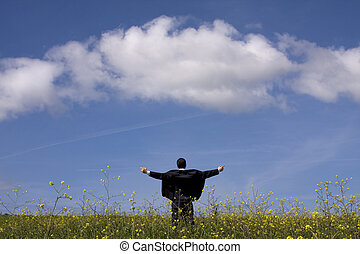 Businessman outstretched on a field