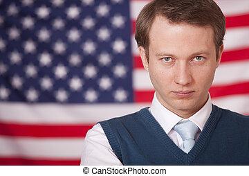 businessman over american flag