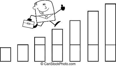 Businessman Over Growing Bar Chart