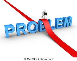 Businessman overcoming problem - 3d businessman is running...