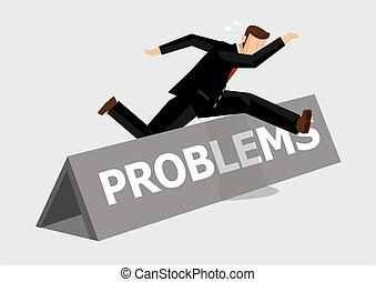 Businessman Overcoming Problem Obstacle Cartoon Vector ...