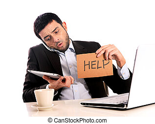 Businessman overworked at office - Business man overworked...