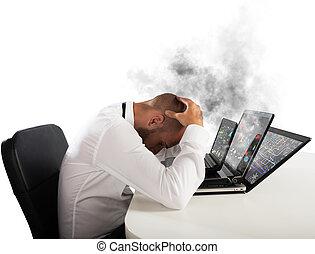 Businessman overworked worn computers