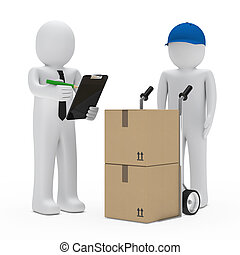 businessman package delivery - businessman get a package...