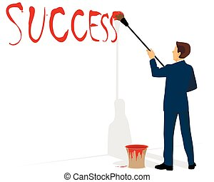 Businessman painting success
