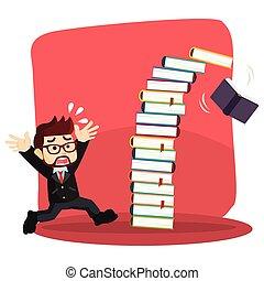 businessman panic as books falling