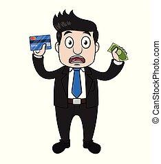 businessman panic holding money business card