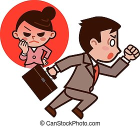 Businessman panics for being late  - Vector illustration.
