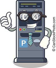 Businessman parking vending machine the cartoon shape