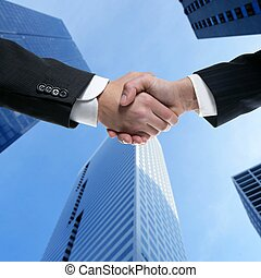 Businessman partners shaking hands with suit - Businessman...