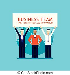 Businessman partnership Teamwork Collaboration Successful business team concept Flat design