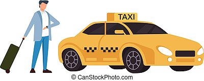 Businessman passenger waiting taxi cab and checking time. Transportation concept. Vector flat cartoon graphic design isolated illustration