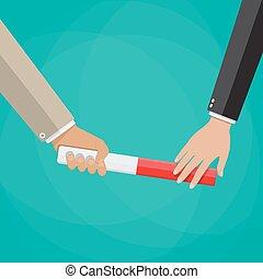 Businessman passes relay baton in hand