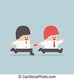 Businessman passing baton to the other in relay race,...
