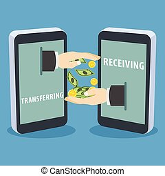 businessman payment mobile with big