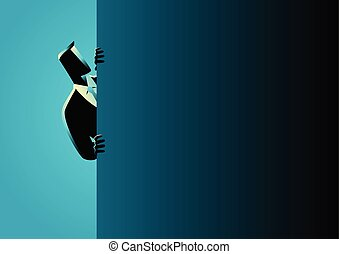Businessman peeking from behind wall - Business concept...