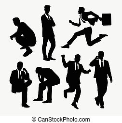 Businessman people action silhouettes. Good use for symbol,...