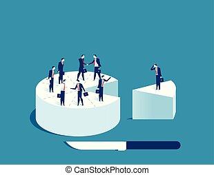 Businessman people standing on cake