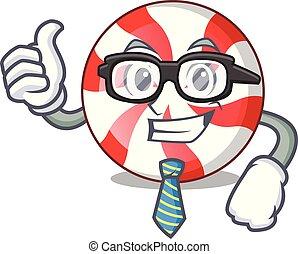 Businessman peppermint candy character cartoon