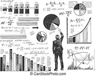 Businessman performing data analysis