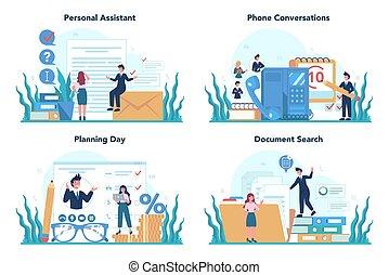 Businessman personal assistant concept set. Professional help