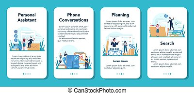 Businessman personal assistant mobile application banner set.