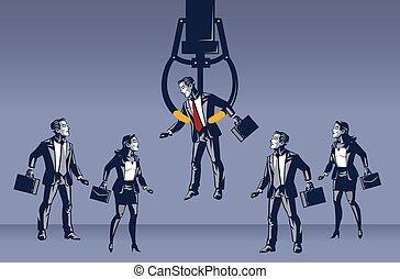 Businessman Picked By Fish Crane Machine Blue Collar Illustration Concept