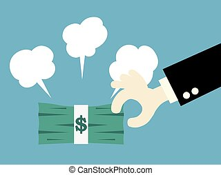 Businessman picking money. vector illustration.