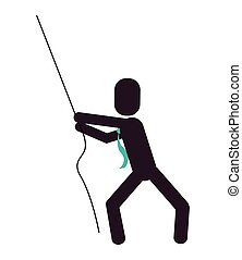 businessman pictogram pulling rope icon