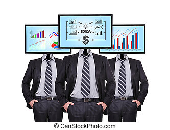 businessman - three businessman and monitor with business...