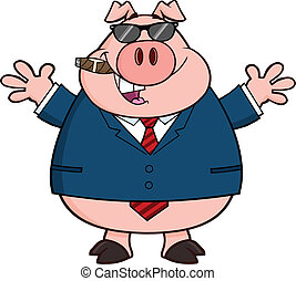 Businessman Pig With Sunglasses,Cigar And Open Arms...