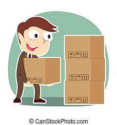 businessman pile up boxes