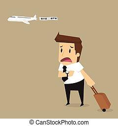 businessman plane missing the airplane