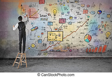 Businessman planning - Businessman drawing and planning on ...