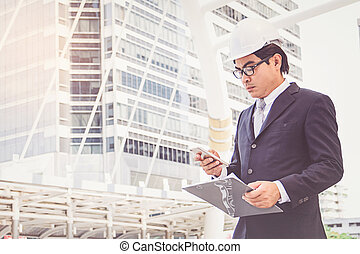Businessman planning construction project