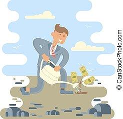 Businessman planting a money tree