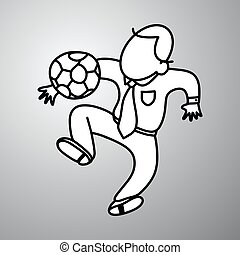 businessman playing soccer vector illustration doodle sketch hand drawn with black lines isolated on gray background. Business concept.