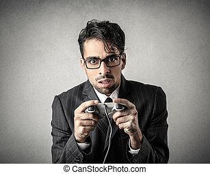Businessman playing