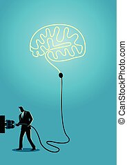 Businessman plugs a brain