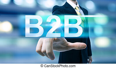 Businessman pointing at B2B