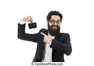 businessman pointing at briefcase