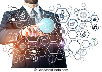Interface concept - Businessman pointing at digital business...