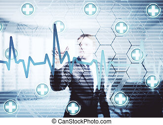 Businessman pointing at mediacl screen front