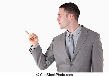 Businessman pointing at something