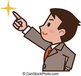 Businessman pointing at the future  - Vector illustration.
