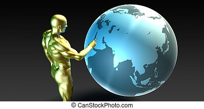 Businessman Pointing at the Middle East - Businessman...