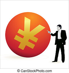 Businessman pointing at the symbol