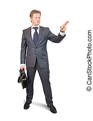 Businessman  pointing away