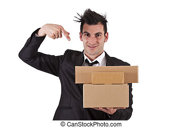 businessman pointing cartons